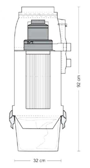 Schiță dimensiuni Aspirator central - Evo 550