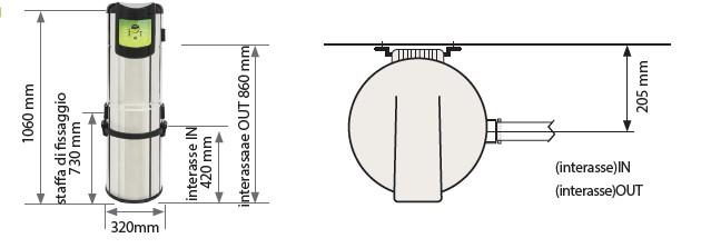 Schiță dimensiuni Unitate centrala de aspirare - I.VAC