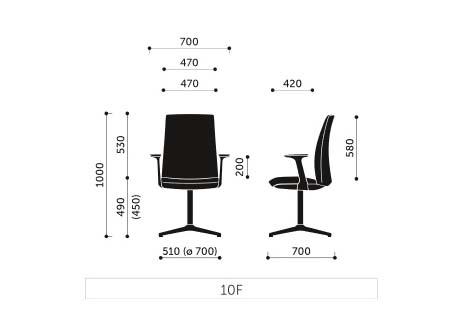Schiță dimensiuni Scaun Birou - Motto 10SF