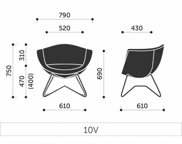 Schiță dimensiuni Scaun de Relaxare - Sorriso 10V