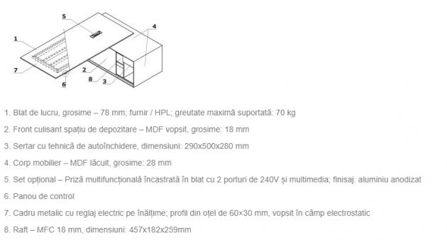 Schiță dimensiuni Birou executiv - Gravity