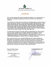 Certificat Silvster distribuitor autorizat Iso Paint Nordic