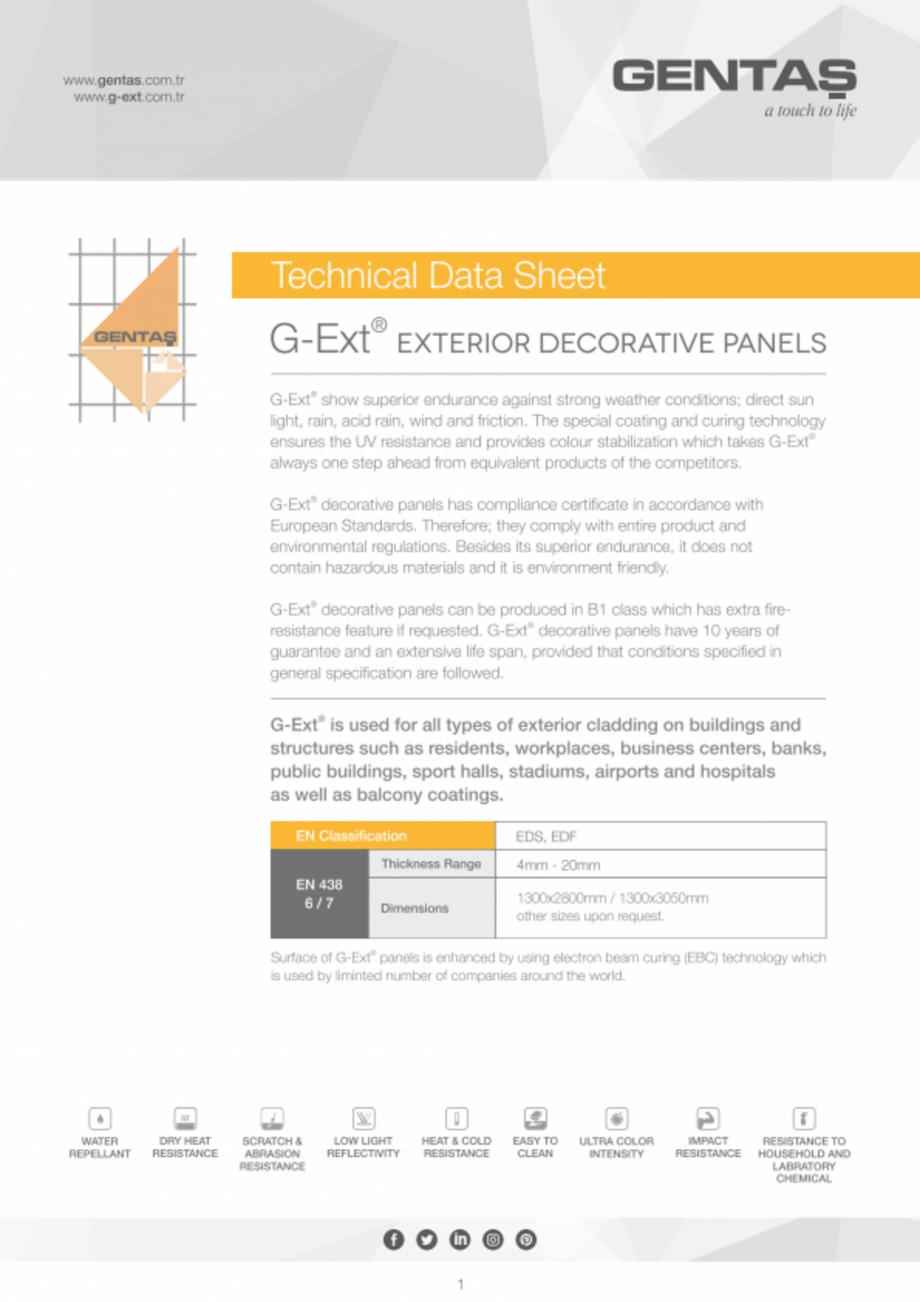 Pagina 1 - Placi HPL pentru exterior G-Ext Fisa tehnica Engleza