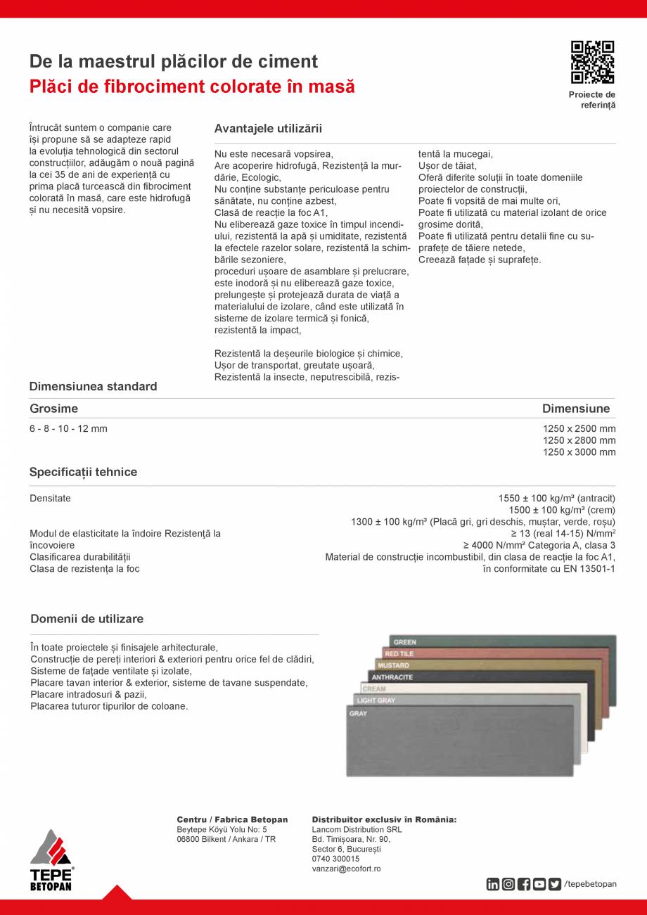 Pagina 2 - Placi fibrociment colorate in masa TEPE BETOPAN Betopan Colorate Fisa tehnica Romana ce, ...