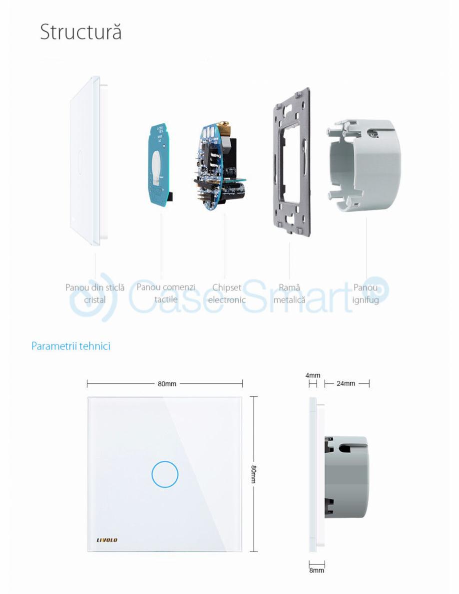 Pagina 2 - Intrerupator simplu cu touch Livolo din sticla Case Smart VL-C701 Catalog, brosura Romana...