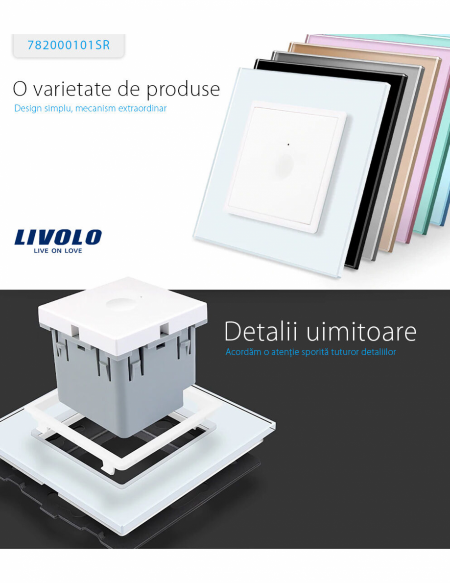 Pagina 1 - Intrerupator simplu cu touch Livolo din sticla, serie noua Case Smart 782000101SR-11...