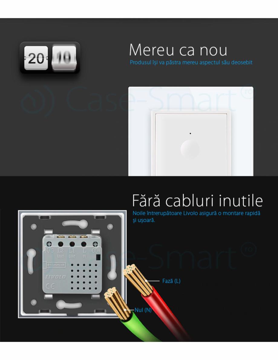 Pagina 5 - Intrerupator simplu cu touch Livolo din sticla, serie noua Case Smart 782000101SR-11...