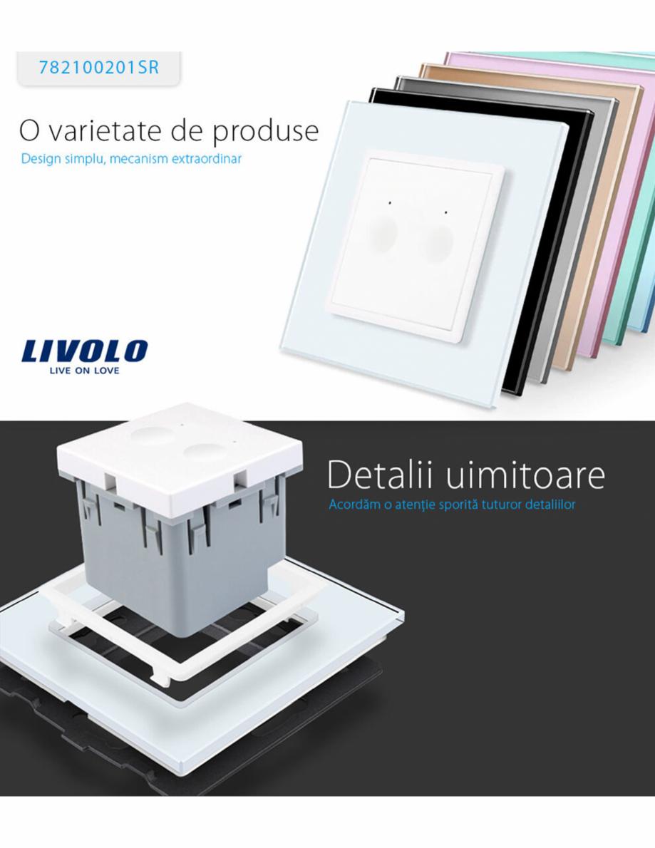 Pagina 1 - Intrerupator dublu, wireless cu touch Livolo din sticla, serie noua Case Smart...
