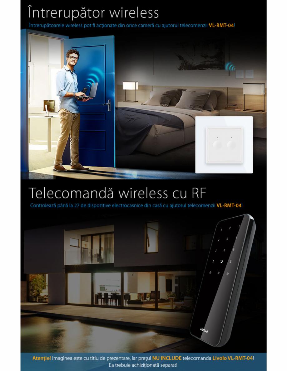 Pagina 3 - Intrerupator dublu, wireless cu touch Livolo din sticla, serie noua Case Smart...