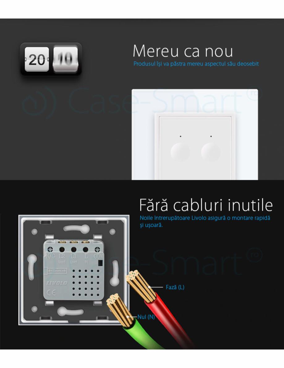 Pagina 7 - Intrerupator dublu, wireless cu touch Livolo din sticla, serie noua Case Smart...
