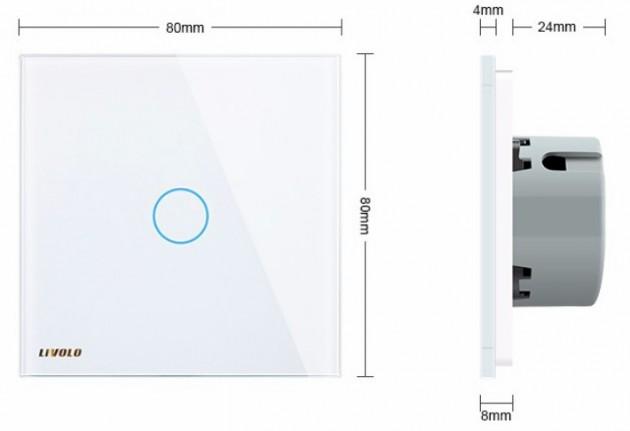 Schiță dimensiuni Intrerupator simplu cu touch Livolo din sticla - VL-C701