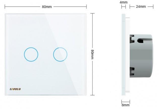 Schiță dimensiuni Intrerupator dublu cu touch Livolo din sticla - VL-C702