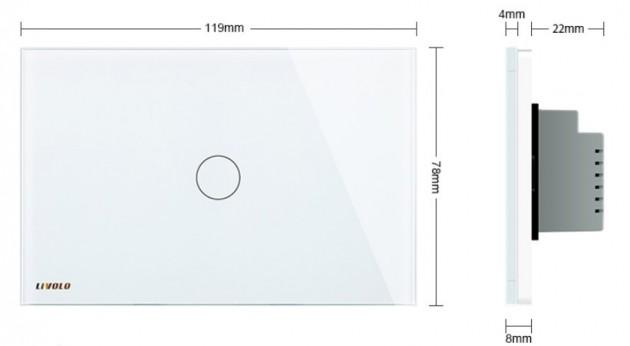 Schiță dimensiuni Intrerupator cu timer, cu touch Livolo din sticla - standard italian - VL-C301T
