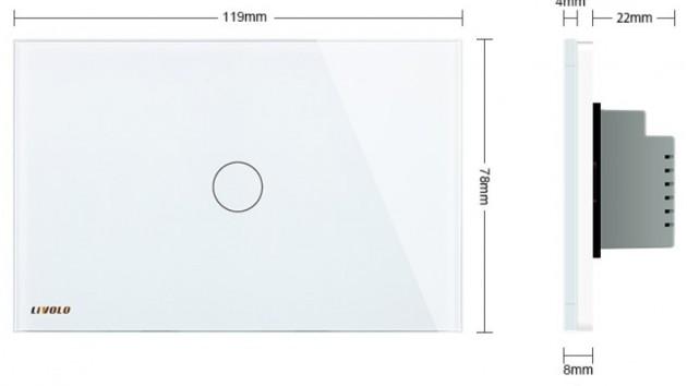 Schiță dimensiuni Intrerupator cu variator, wireless, cu touch Livolo din sticla - standard italian - VL-C301DR