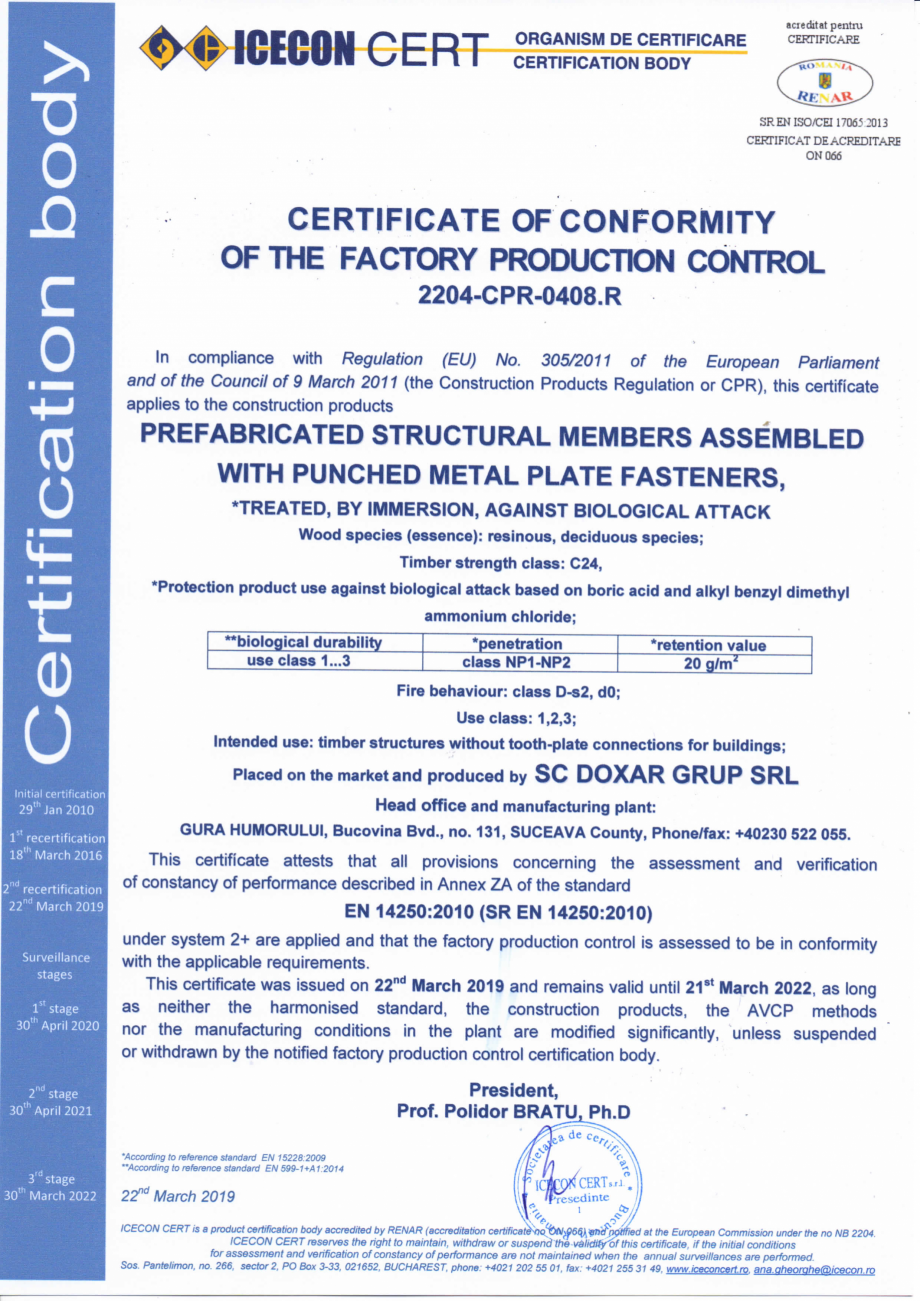 Pagina 1 - Certificat de conformitate a controlului productiei in fabrica 14250 DOXAR Certificare...
