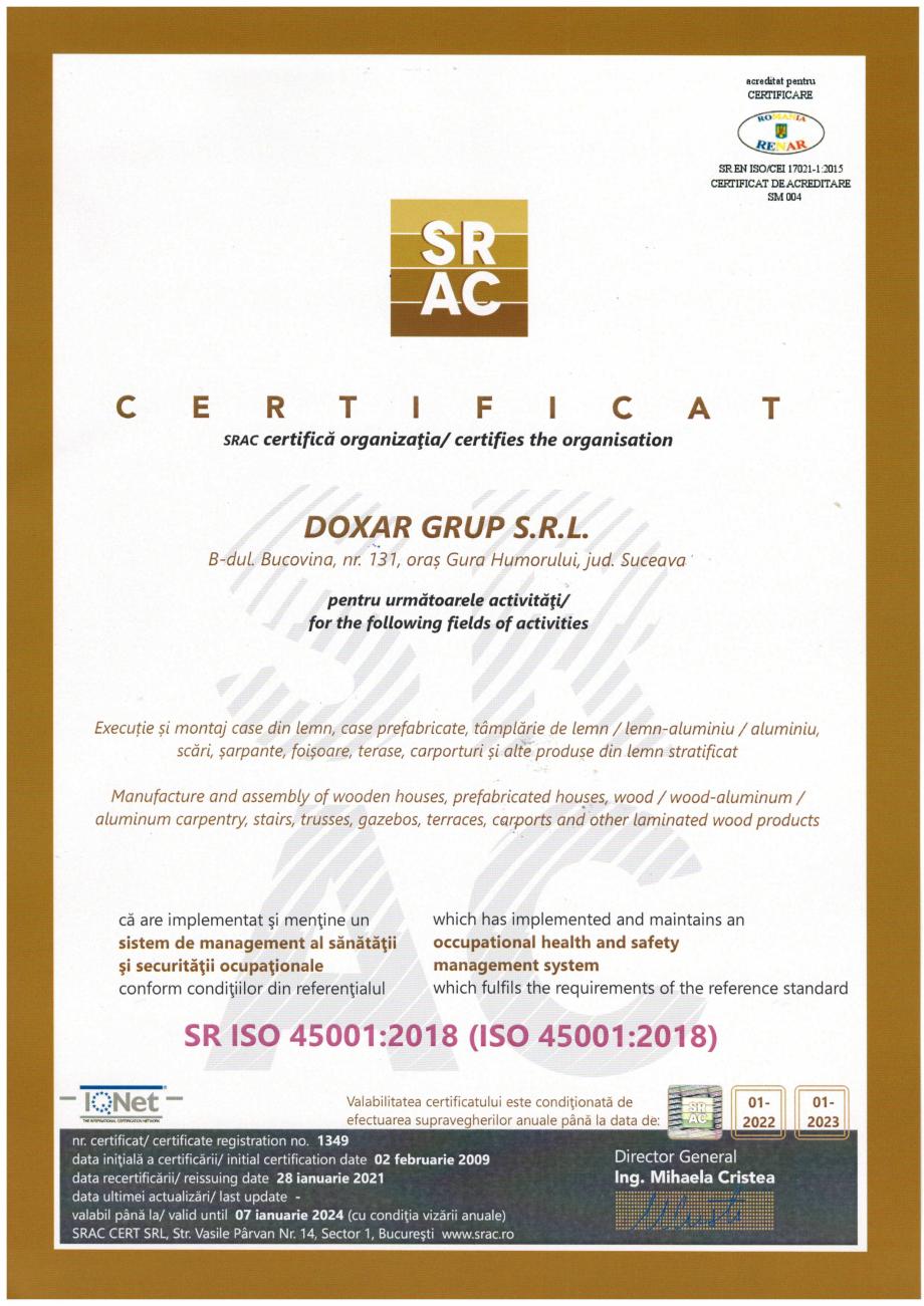 Pagina 2 - Certificat ISO 45001 DOXAR Certificare produs ert Croatia DQS Holding GmbH Germang ?CAY...