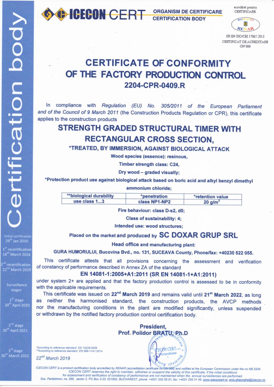 Pagina 1 - Certificat de conformitate a controlului productiei in fabrica 14081 DOXAR Certificare...