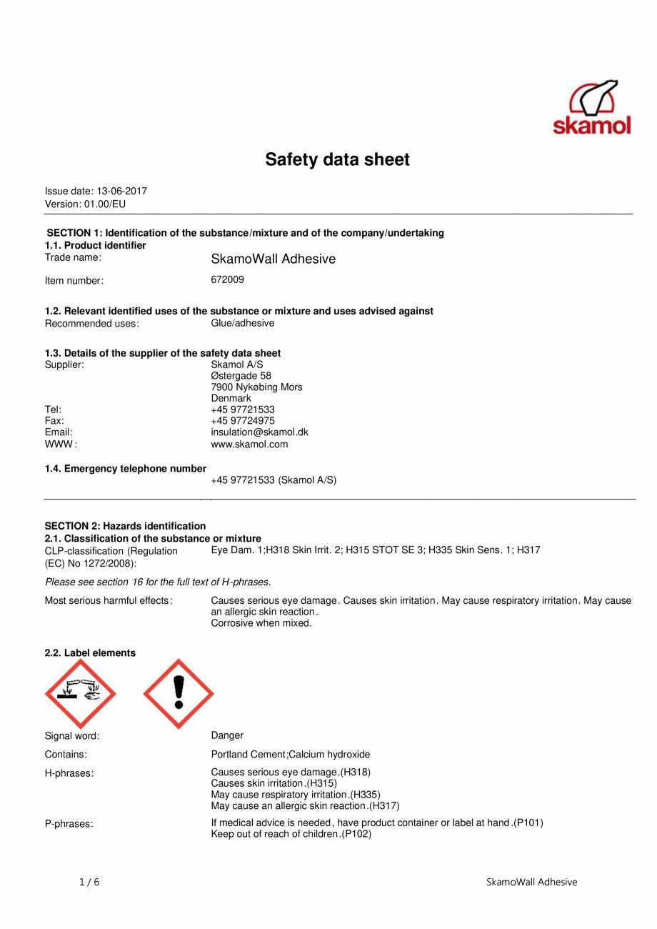 Pagina 1 - Fisa de securitate pentru SkamoWall Adhesive (Adeziv) SKAMOL Certificare produs Engleza...