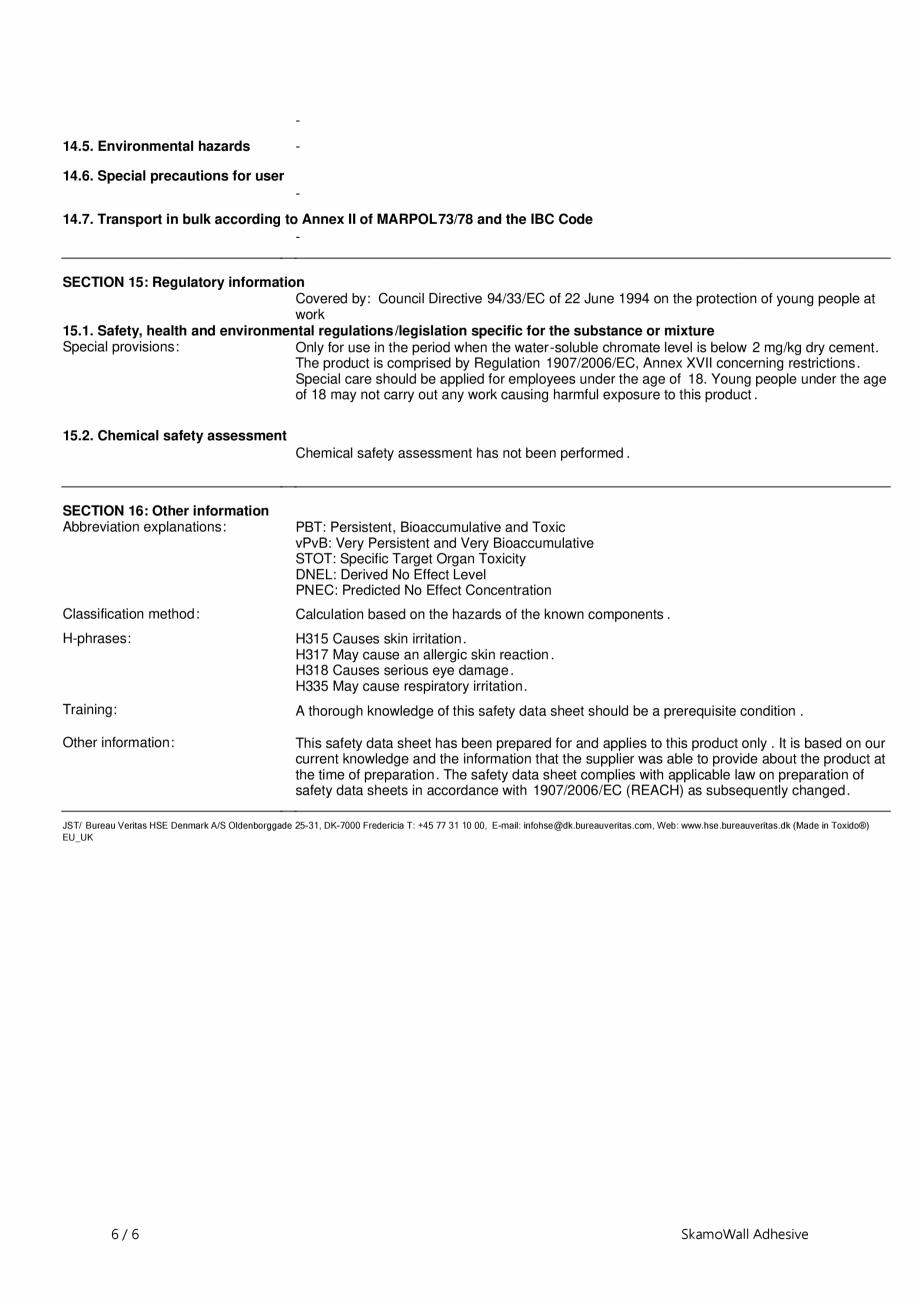 Pagina 6 - Fisa de securitate pentru SkamoWall Adhesive (Adeziv) SKAMOL Certificare produs Engleza  ...