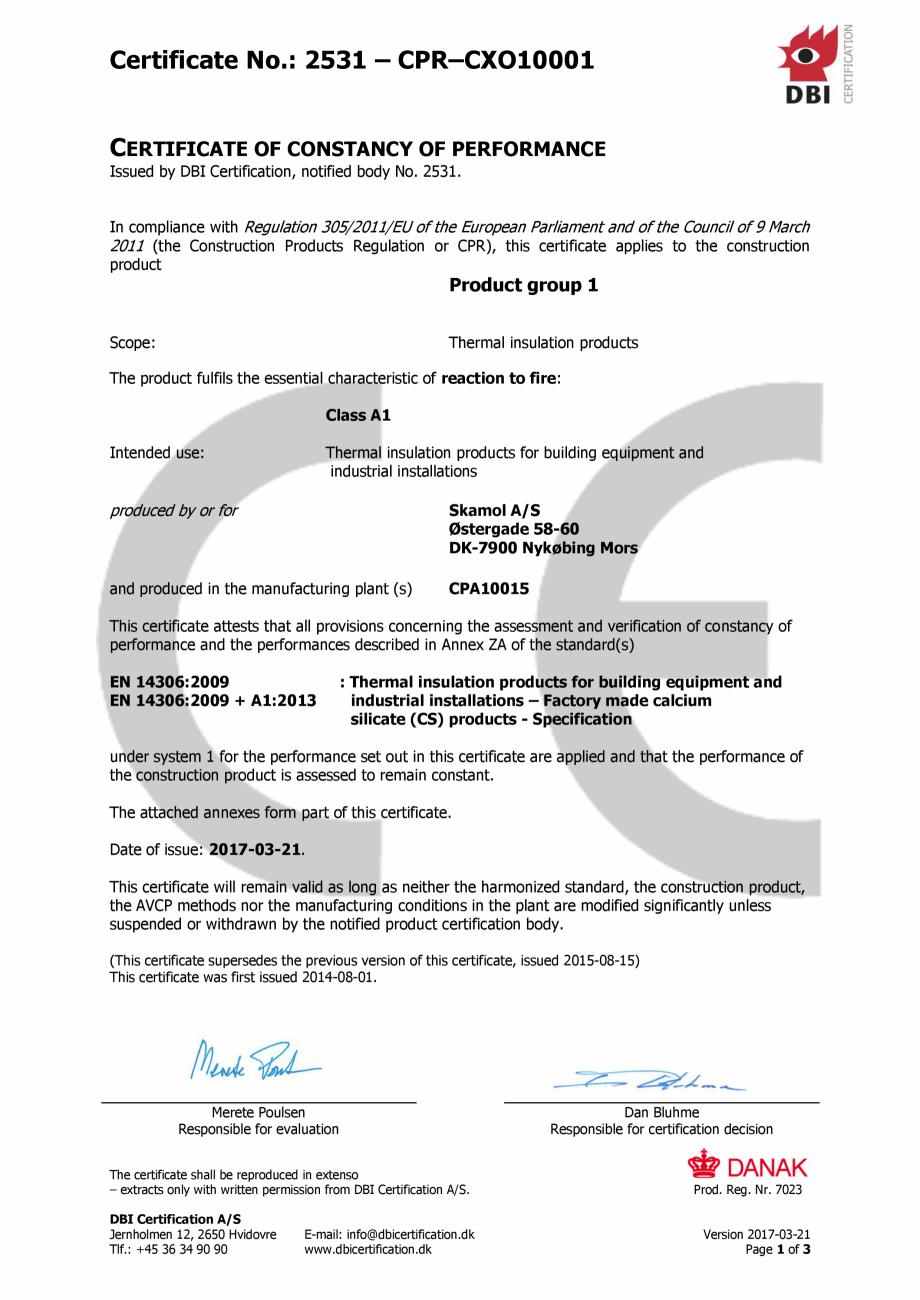 Pagina 1 - Certificat de constanta a poerformantei pentru sistemul de izolatie din placi de silicat ...
