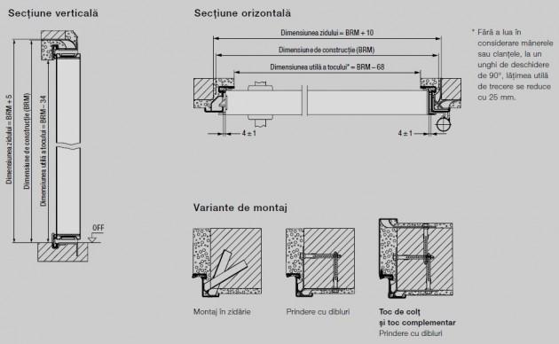 Schiță dimensiuni Usa de interior pentru subsoluri incalzite, cu protectie impotriva incendiului - H8-5