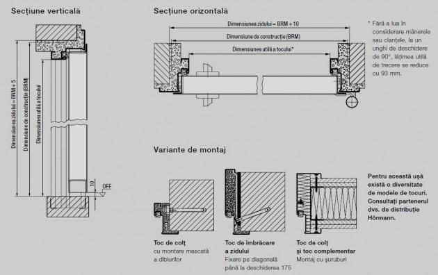 Schiță dimensiuni Usa de interior pentru accesul din garaj in locuinta - H3D