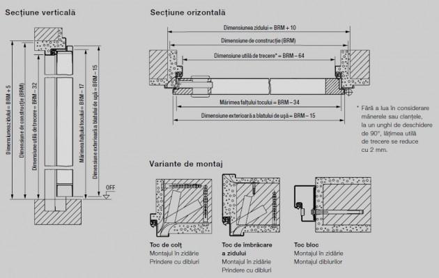 Schiță dimensiuni Usa de interior pentru accesul din garaj in locuinta - WAT 40