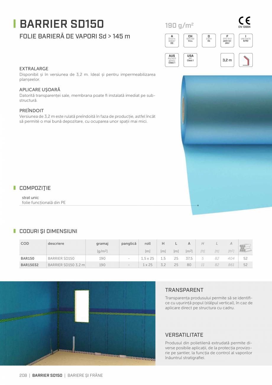 Pagina 1 - Folie bariera de vapori ROTHOBLAAS SD150 Fisa tehnica Romana BARRIER SD150  190 g/m2 ...