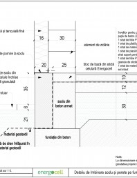 Detaliu de imbinare soclu si perete pe fundatie continua (cu bloc de baza)
