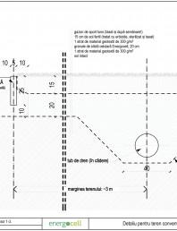 Detaliu pentru teren conventional de sport cu gazon natural