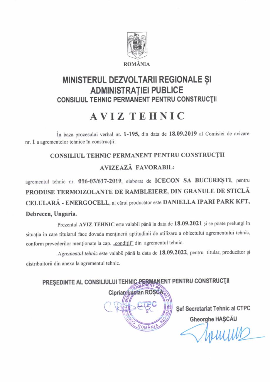 Pagina 1 - Aviz tehnic si agrement tehnic pentru sticla celulara termoizolanta ENERGOCELL...