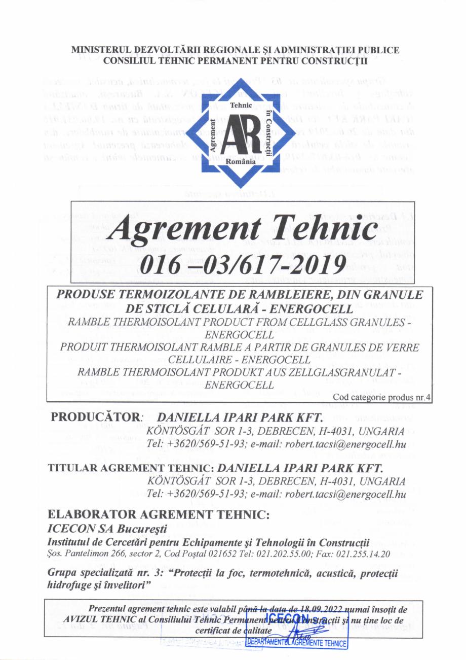 Pagina 2 - Aviz tehnic si agrement tehnic pentru sticla celulara termoizolanta ENERGOCELL...