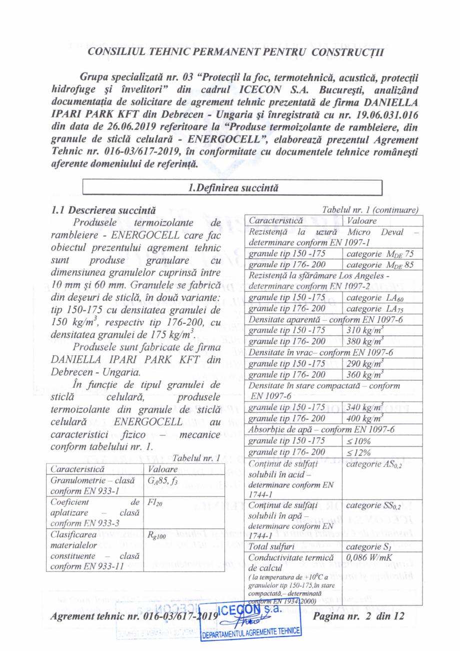 Pagina 3 - Aviz tehnic si agrement tehnic pentru sticla celulara termoizolanta ENERGOCELL...