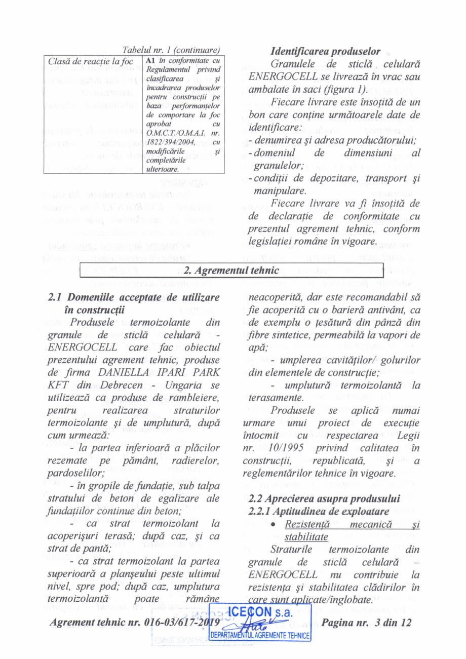 Pagina 4 - Aviz tehnic si agrement tehnic pentru sticla celulara termoizolanta ENERGOCELL...