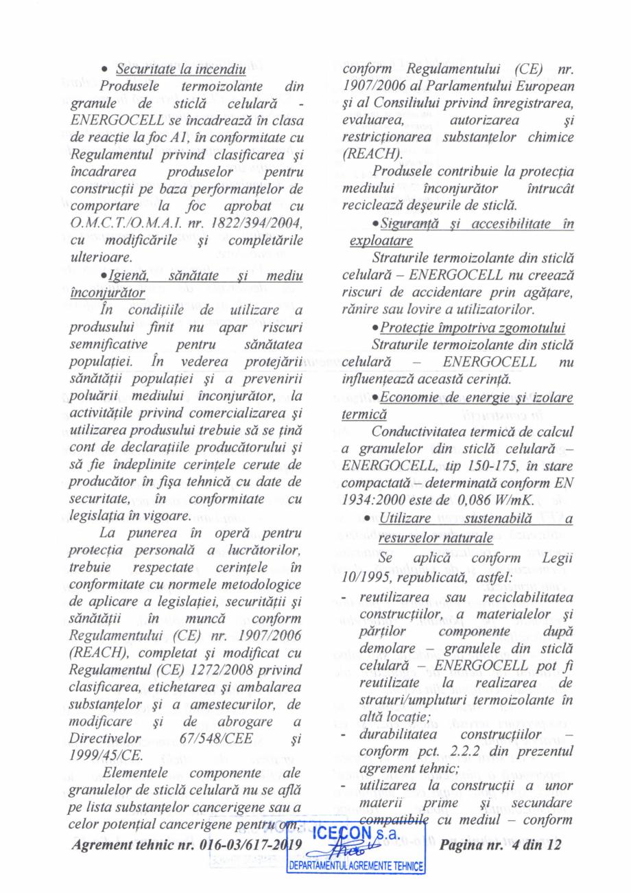 Pagina 5 - Aviz tehnic si agrement tehnic pentru sticla celulara termoizolanta ENERGOCELL...