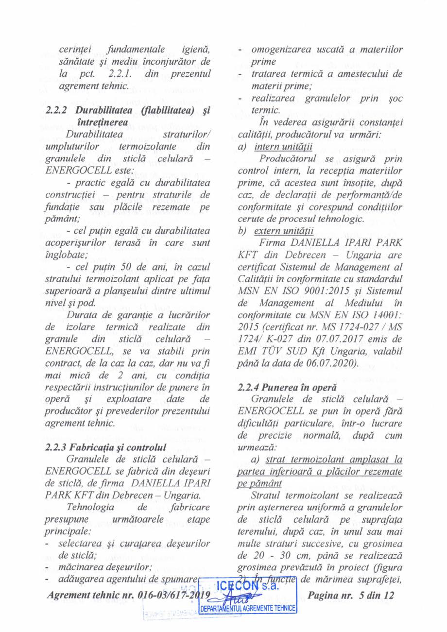 Pagina 6 - Aviz tehnic si agrement tehnic pentru sticla celulara termoizolanta ENERGOCELL...