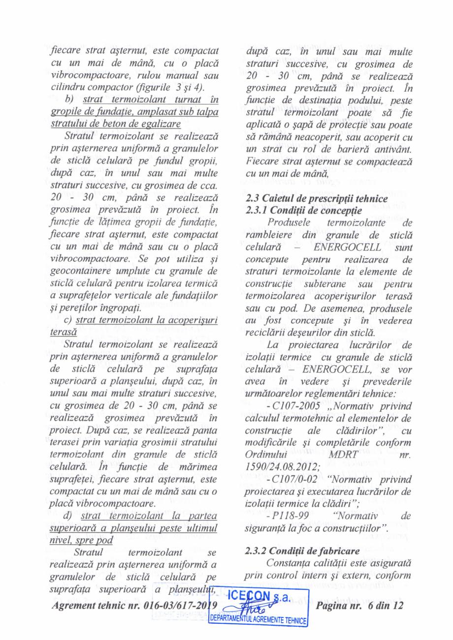 Pagina 7 - Aviz tehnic si agrement tehnic pentru sticla celulara termoizolanta ENERGOCELL...