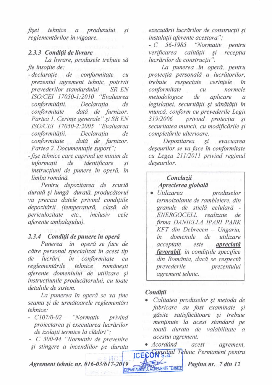 Pagina 8 - Aviz tehnic si agrement tehnic pentru sticla celulara termoizolanta ENERGOCELL...