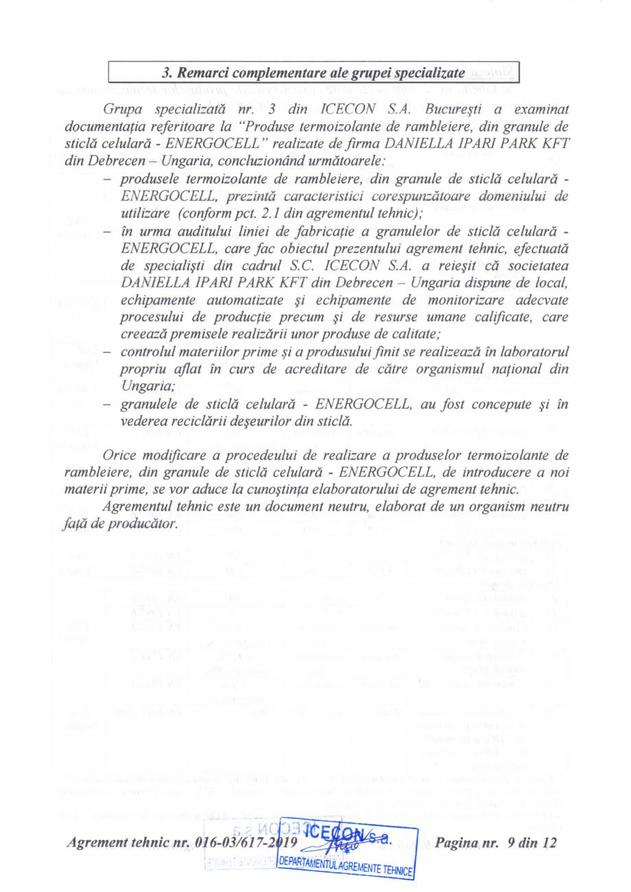 Pagina 10 - Aviz tehnic si agrement tehnic pentru sticla celulara termoizolanta ENERGOCELL...