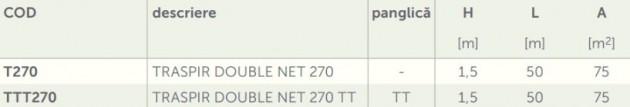 Schiță dimensiuni Membrana foarte permeabila - TRASPIR DOUBLE NET 270
