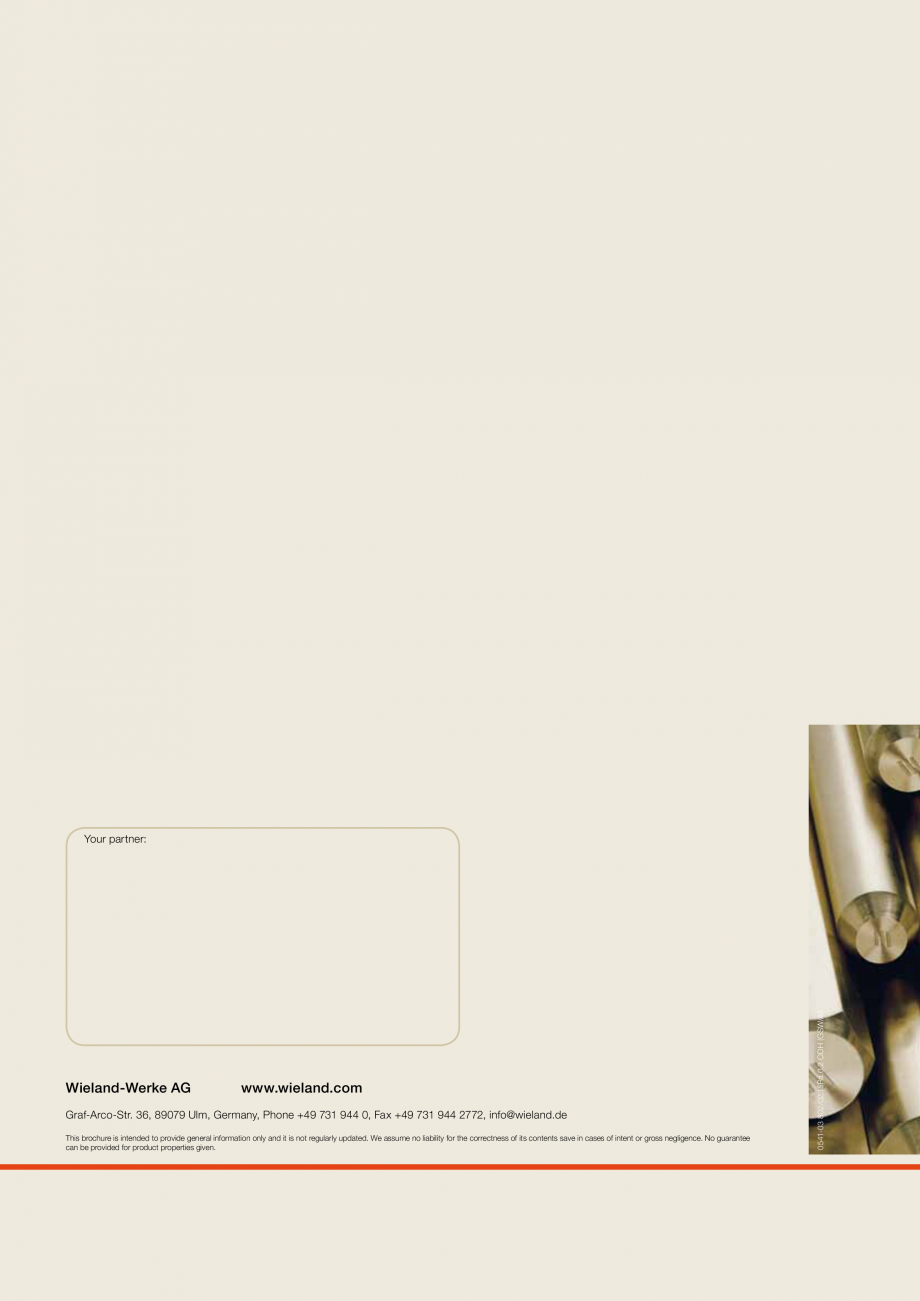 Pagina 8 - Bare fara plumb si nichel WIELAND ECOBRASS® Fisa tehnica Engleza to a combination of ...