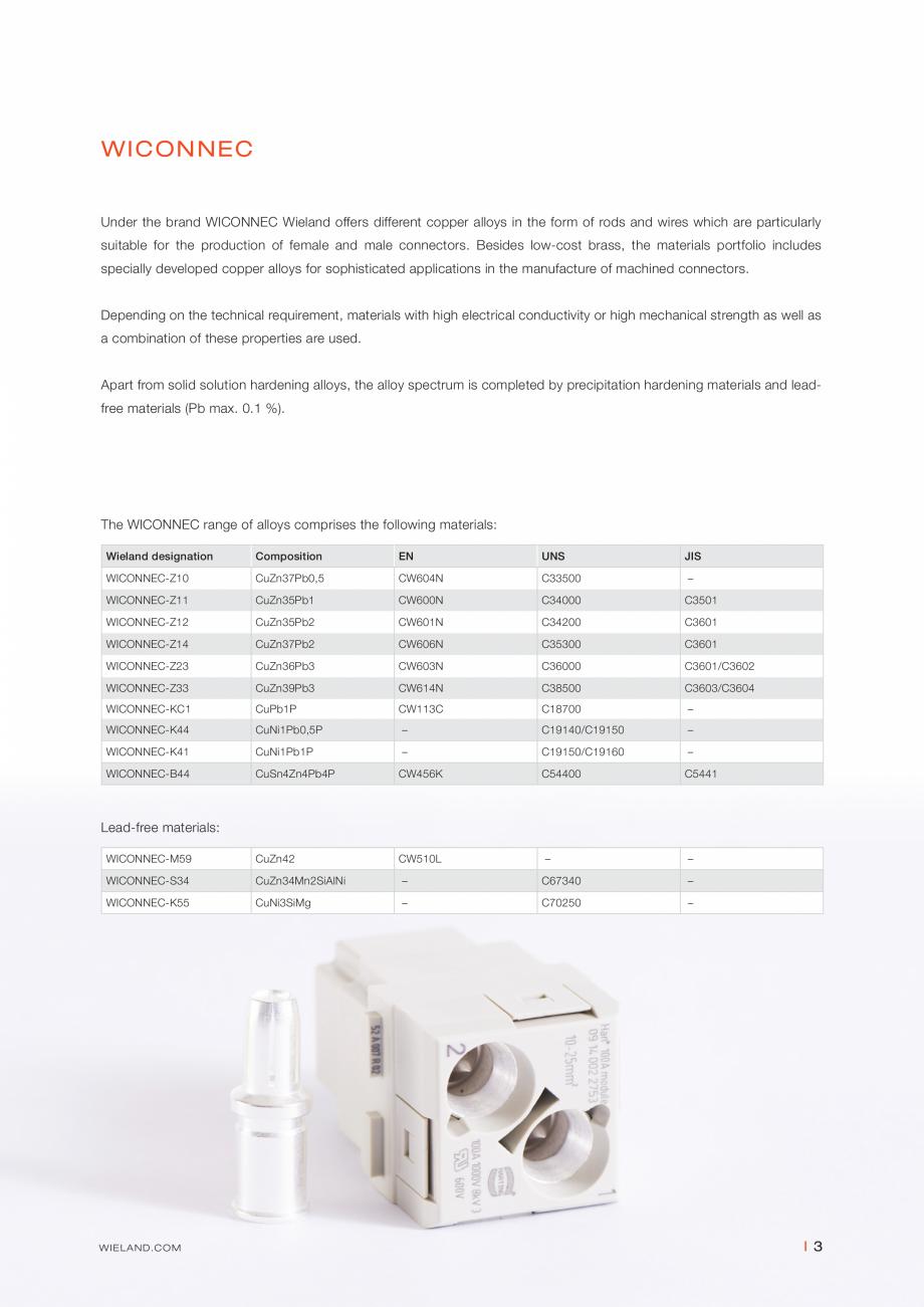 Pagina 3 - Bare din aliaje de cupru WIELAND WICONNEC® Fisa tehnica Engleza �630  360–630 ...