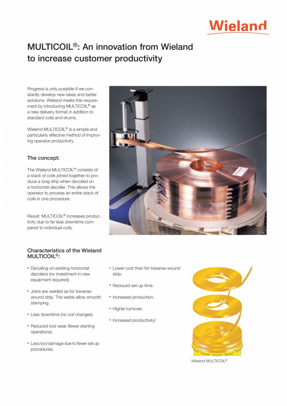 Pagina 1 - Banda Wieland WIELAND MULTICOIL® Fisa tehnica Engleza MULTICOIL®: An innovation from...
