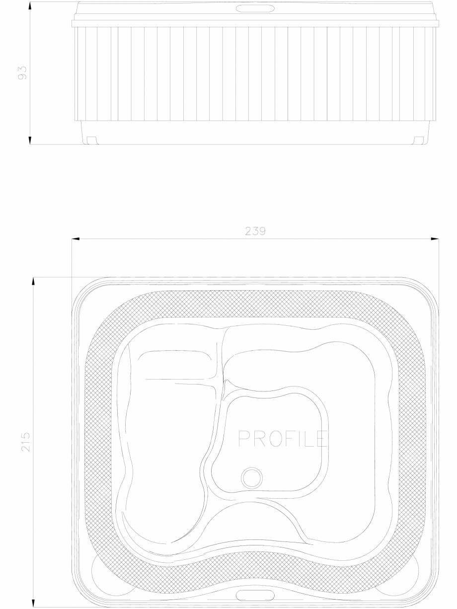 Pagina 1 - CAD-DWG cada cu hidromasaj PROFILE vazuta de sus si din lateral JACUZZI Detaliu de produs...