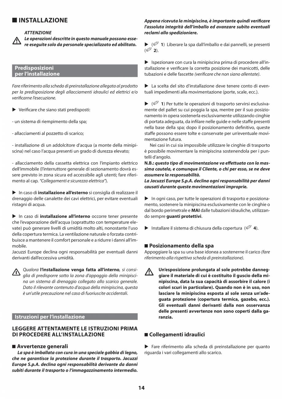 Pagina 13 - Manual de instalare pentru cada de baie cu hidromasaj JACUZZI SANTORINI PRO, SANTORINI...
