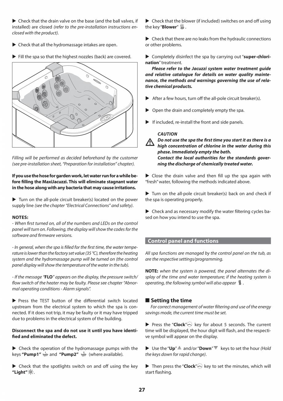 Pagina 26 - Manual de instalare pentru cada de baie cu hidromasaj JACUZZI SANTORINI PRO, SANTORINI...