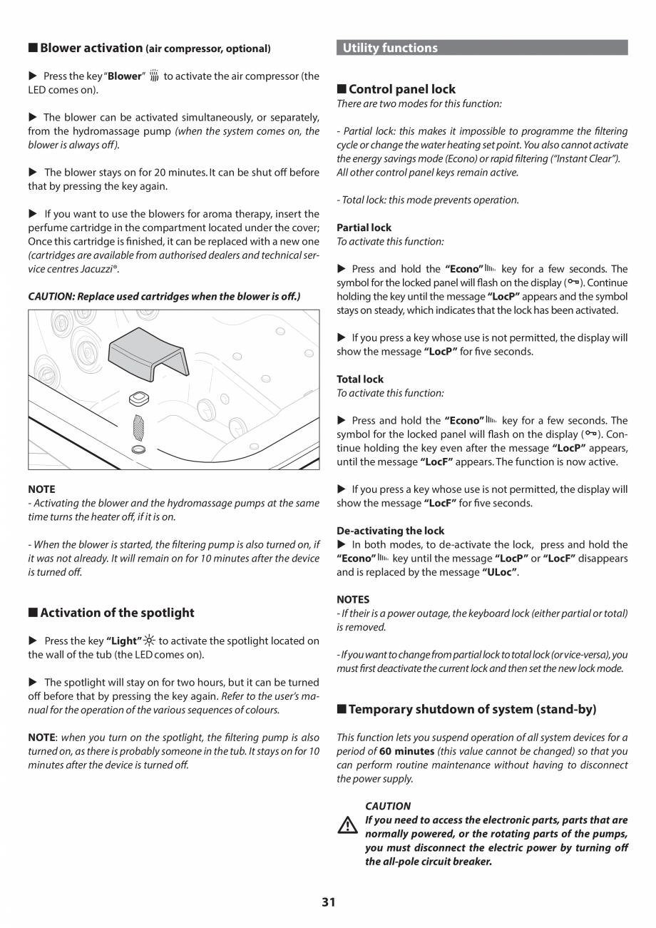 Pagina 30 - Manual de instalare pentru cada de baie cu hidromasaj JACUZZI SANTORINI PRO, SANTORINI...
