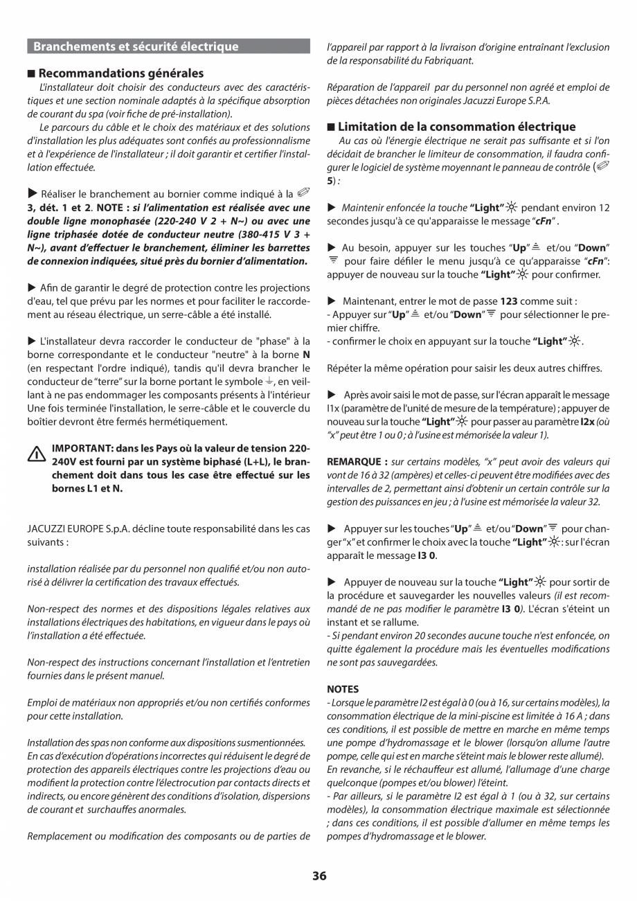 Pagina 35 - Manual de instalare pentru cada de baie cu hidromasaj JACUZZI SANTORINI PRO, SANTORINI...