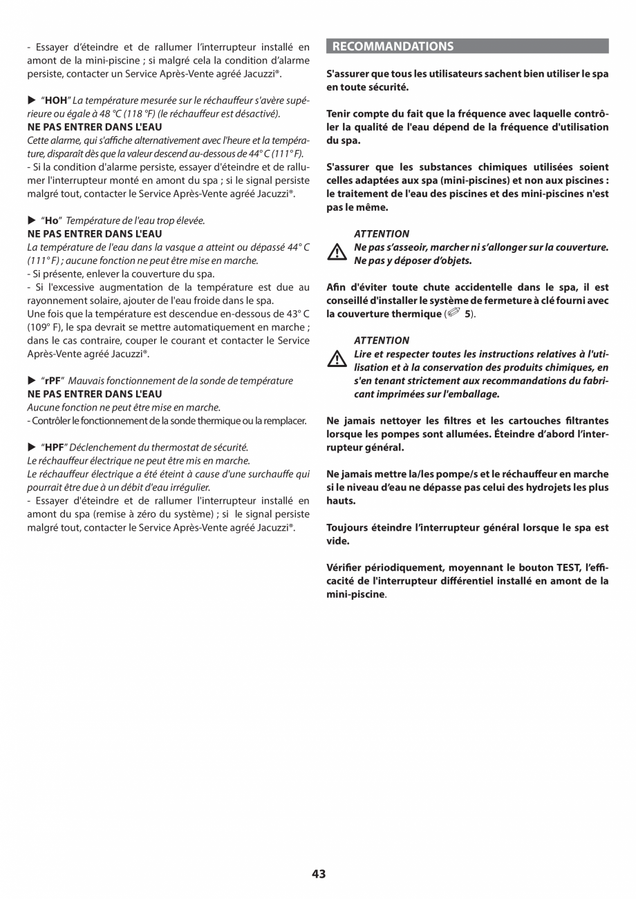 Pagina 43 - Manual de instalare pentru cada de baie cu hidromasaj JACUZZI SANTORINI PRO, SANTORINI...
