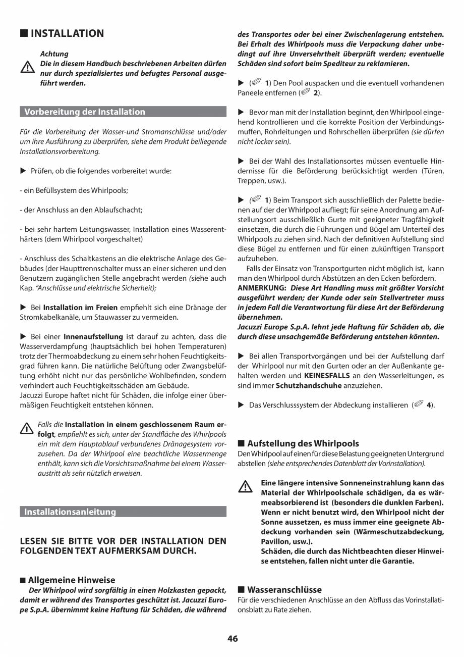 Pagina 46 - Manual de instalare pentru cada de baie cu hidromasaj JACUZZI SANTORINI PRO, SANTORINI...